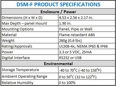 DSM-F spec sheet